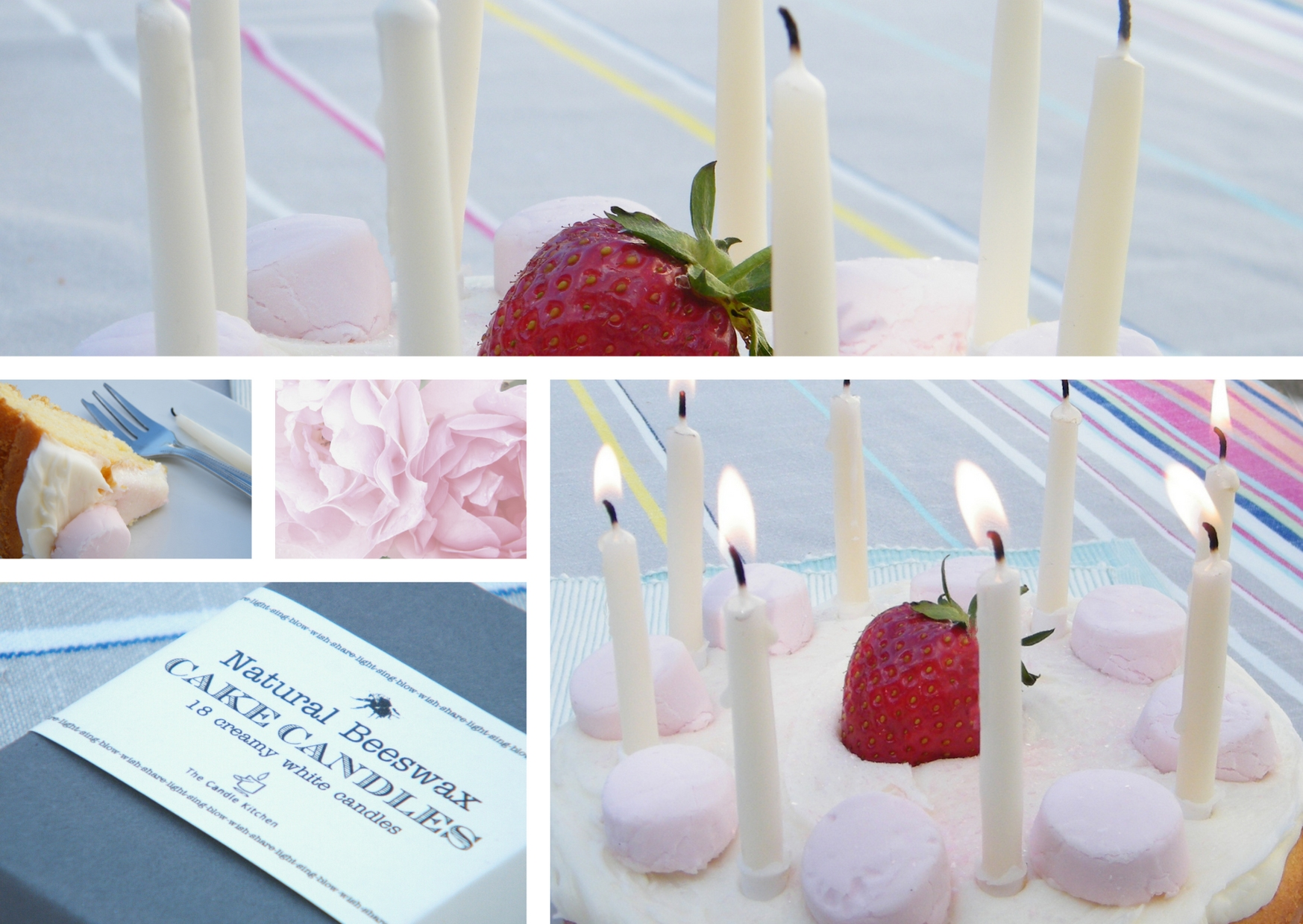 White beeswax cake candles on a cake